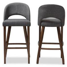 Baxton Studio Melrose Mid Century Modern Walnut Finished Wood Fabric Upholstered Bar Stools Dark Gray