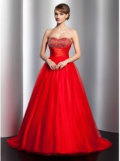 Ball-Gown Sweetheart Satin Tulie Quinceanera Dress w/Ruffle Beading in Red.   jjshouse.com
