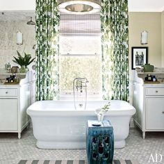 Bathtub in Front of Window, Transitional, bathroom, Architectural Digest