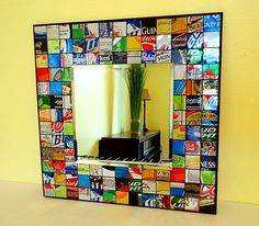 Recycled Soda Can - Recycled Beer Can - Mosaic Mirror - Man Cave - Upcycled. $35.00, via Etsy.