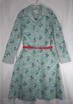 Vintage 60s Polyester Blue Green Leaf Design Long Sleeve Dress Plus Size 20 #TanglewoodbyBrief #Secretary #Everyday