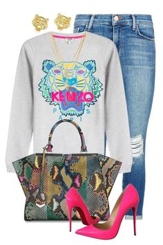 A fashion look from February 2016 featuring Kenzo sweatshirts, J Brand jeans и Christian Louboutin pumps. Browse and shop related looks. Swag Outfits, Classy Outfits, Chic Outfits, Fall Outfits, Fashion Outfits, Jeans Fashion, Diva Fashion, Fashion Killa, Look Fashion