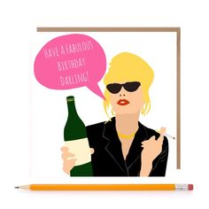 Funny Ab Fab Patsy Card  Absolutely Fabulous Card  by TheGinFox