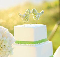 Cake topper pájaros de tela