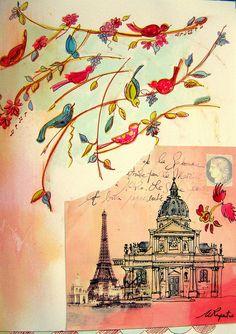 paris journal by cathy bluteau art journal sketchbook Illustrations, Illustration Art, Art Journal Pages, Art Journaling, Paris Art, Sketchbook Inspiration, Bird Art, Beautiful Birds, Mixed Media Art