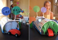 Lavagem de carros com escovilões de biberões. we are totally doing this!Imagem em: http://kiddley.com/2006/09/13/make-a-toy-service-station-and-car-wash/