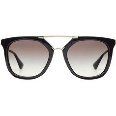 Prada Geometric Aviator Sunglasses ($210) ❤ liked on Polyvore featuring accessories, eyewear, sunglasses, black, gradient sunglasses, geometric glasses, vintage style glasses, aviator glasses and gradient lens sunglasses