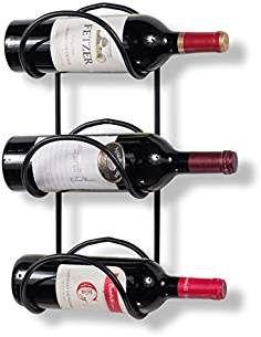 Wallniture Wrought Iron Wine Rack 3 Sectional – Wall Mount Bottle Storage Display Black