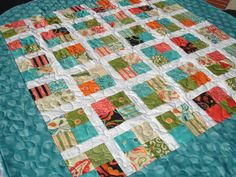 Baby Quilt Throw Blanket in Teal Blue, White & Orange prints by KeriQuilts, $118.00