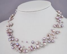 Floating Purple Necklace,Purple Pearl Necklace, Violet Necklace, Floating Necklace, Illusion Necklace(FN0142-Purple) on Etsy, $33.00