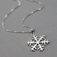 Snowflake Necklace, Sterling Silver Snowflake Pendant on Sterling Silver Necklace Chain, Bridesmaid Necklace with Optional Initial Charms