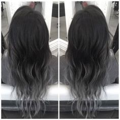 black hair dyed with gray ends