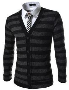 The Lees Men's Slim Fit 5 Button Corduroy Knitted Cardigan. #fashionformen