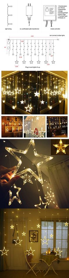 Twinkle Star 12 Stars 138 LED Curtain String Lights, Window Curtain Lights  With 8 Flashing