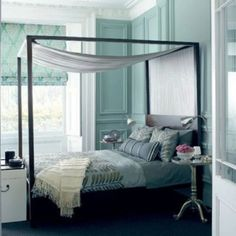 almost slate blue walls - love the color palette with black, silver, and white