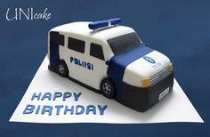 Poliisiauto-kakku.  Police car cake