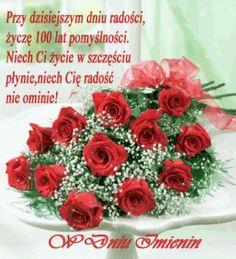 W Dniu Imienin bukiet czerwonych róż i życzę 100 lat - Gify i obrazki na GifyAgusi.pl