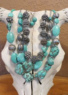 Cowgirl Bling Gypsy Southwestern Chunky TURQUOISE NUGGETS BEADS necklace set  our prices are WAY BELOW RETAIL! all JEWELRY SHIPS FREE! www.baharanchwesternwear.com baha ranch western wear ebay seller id soloedition