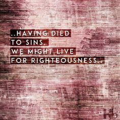 He Himself bore our sins in His body on the tree, so that, having died to sins, we might live for righteousness; you have been healed by His wounds.  1 Peter 2 :24