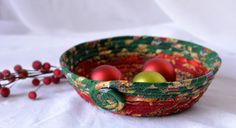 Wexford Treasures: Lovely Christmas Fiber Basket ....I Handmade this pretty Holiday Fabric bowl in my smoke free home studio... by WexfordTreasures