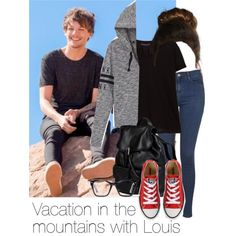 REQUESTED: Vacation in the mountains with Louis by style-with-one-direction on Polyvore featuring moda, Victoria's Secret PINK, Violeta by Mango, Topshop, Converse, Doucal's, Spitfire, OneDirection, 1d and louistomlinson