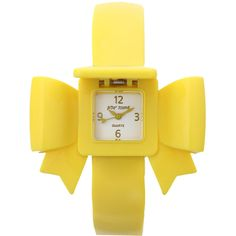 Betsey Johnson Yellow Bow Bangle Watch ($127) ❤ liked on Polyvore featuring jewelry, watches, accessories, bracelets, yellow, women, bow bangle, bow jewelry, yellow bangle bracelet and pyramid jewelry