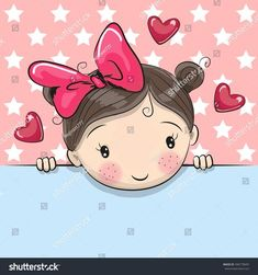Illustration about Greeting card cute Cartoon Girl is holding a placard on a stars background. Illustration of child, greeting, image - 78661029 Cartoon Cartoon, Cute Cartoon Girl, Cartoon Mignon, Art Mignon, Girl Clipart, Star Background, Baby Blog, Illustration Sketches, Girl Illustrations