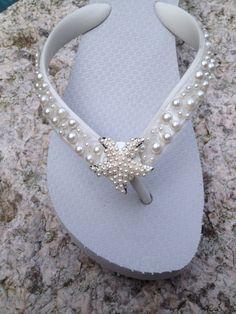 e9d3a375efce Wedding Flip Flops Wedges Sandals for Bride Bridesmaids.White Bridal Flip  Flops