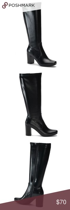 *NWT* Croft & Barrow Estella Black Tall Boots ~ Get both comfort & style with these Croft & Barrow Estella women's boots!! ~  BOOT FEATURES: -Ortholite technology enables air flow for a cool foot, wicks away moisture, inhibits odor and fungus, and provides long-lasting cushioning!! -Treaded sole style  BOOT CONSTRUCTION: -Faux leather upper -Fabric lining -Rubber outsole  BOOT DETAILS: -Round toe style -Zipper closure -Ortholite footbed -3.1-in. heel -14-in. shaft -14.6-in. circumference…