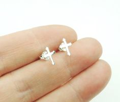 Tiny Sterling Silver Cross Stud Earrings Silver by KissingRavens
