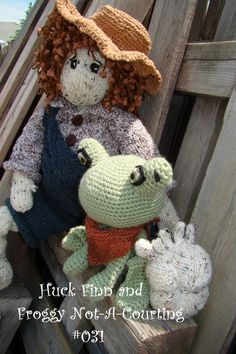Huck Finn and Froggy Not-A-Courting #031- Knit rag doll