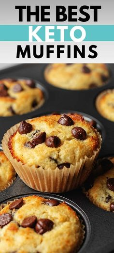 Want an easy, keto muffin recipe with gooey chocolate chips in every bite? Your family will not believe how good these keto chocolate chip muffins are! Healthy Low Carb Recipes, Low Carb Dinner Recipes, Low Carb Desserts, Dessert Recipes, Diet Recipes, Sushi Recipes, Protein Recipes, Diet Meals, Keto Dinner