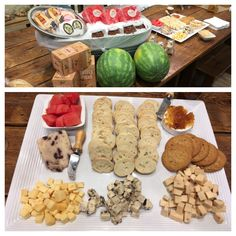 Cheese is a part of life here at our store. Today we did blueberry Wenslydale, Gouda, Strawberry Champagne Cheddar, Goat Brie with fig orange preserves, fresh watermelon, and cookies & cream fudge!