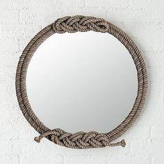 Round Gray Twisted Braided Rope Mirror