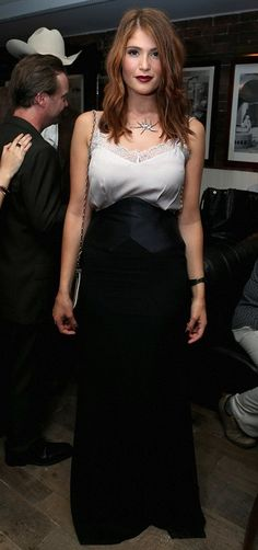 Gemma Arterton at Film Premiere for Sports Auburn Hair and Dark Red Lipstick