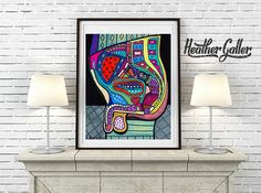 DIGITAL Print File - Modern Male Anatomy Art Print Art Print Poster by Heather Galler Science Surreal Abstract Human Body Medical Chart