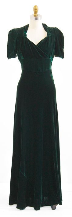 vintage 1930s dress / 30s gown / Green Silk by RococoVintage