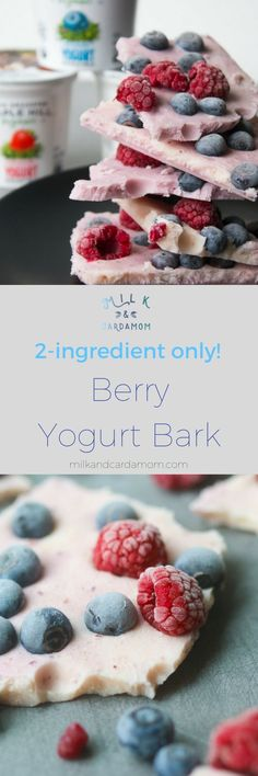 Easy Frozen Yogurt Bark Recipe made with @maplehillcreame and berries! #ad