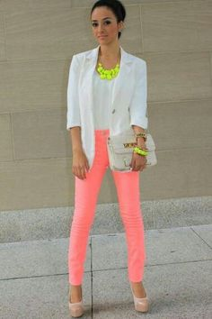 White Neon Orange Outfit
