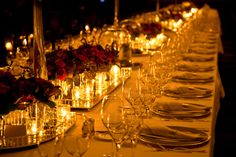 Elegant candlelight dinner table setting at reception by Cüneyd Demirci on 500px