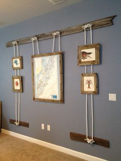 Our Pottery Barn nautical inspired wall display. I just love it!