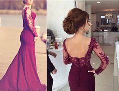 Elegant Burgundy Mermaid Lace Applique Prom Dresses 2016, Mermaid Burgundy Evening Gowns, Formal Gowns 2016