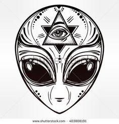 Stock Photo and Image Portfolio by Katja Gerasimova Badass Tattoos, Body Art Tattoos, Small Tattoos, Sleeve Tattoos, Space Tattoo Sleeve, Tatoos, Occult Tattoo, Alien Tattoo, Alien Drawings