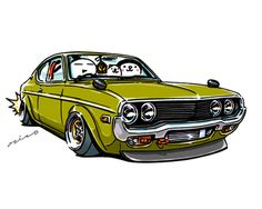 """crazy car art"" jdm japanese old school ""RX-4"" original characters ""mame mame rock"" / © ozizo Official web shop ""STAY CRAZY (in Society6)"" Official web shop ""ozizo(in Redbubble"") ""Crazy Car Art"" Line stickers ""Crazy car Art"" Telegram stickers"