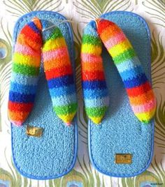 70's flip flop terry cloth thongs - pretty sure I had a pair of these to wear to the pool in the summer of '77