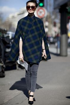 Russian street style queen Natalia Alaverdian goes for the checked option.