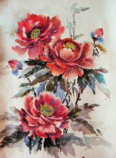 Цветы, написанные акварелью