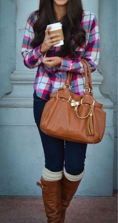 Another simple fall look is wearing an oversized plaid shirt with tall knee high boots and cute warm socks peeking out