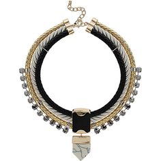 TOPSHOP Three Row Stone Pendant Collar ($40) ❤ liked on Polyvore featuring jewelry, necklaces, accessories, black, topshop jewelry, topshop necklace, cord necklace and topshop