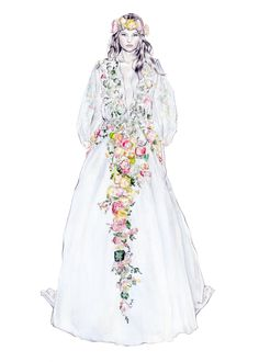Marchesa Spring 2015 illustration by Parchment and Pixel